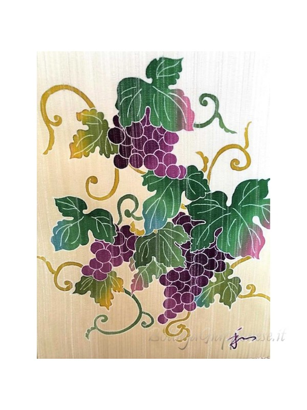 Kakejiku yuzen dipinto a mano su seta grappolo d'uva