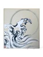 Shikishi con onda dipinto a mano sumie