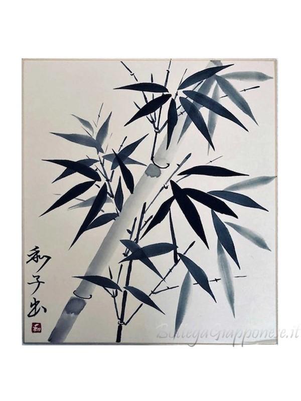 Shikishi con bambù dipinto a mano sumie