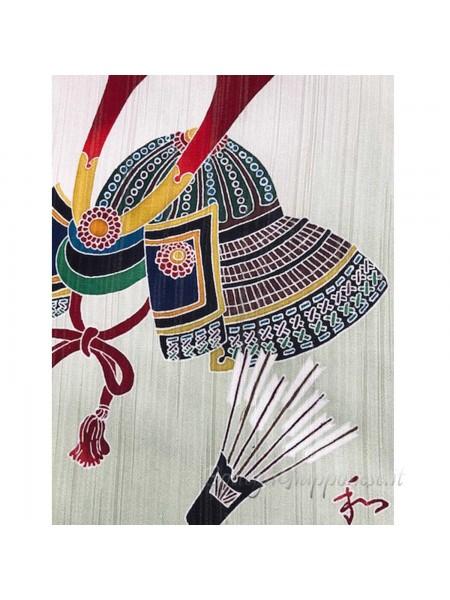 Kakejiku yuzen dipinto a mano su seta kabuto elmo