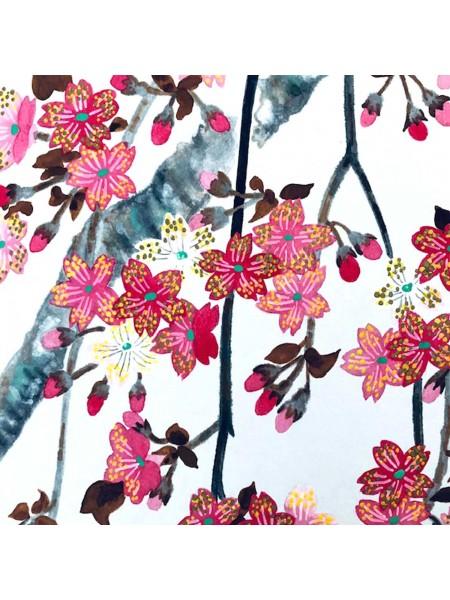 Shikishi con sakura dipinto a mano