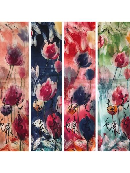 Sciarpa dipinta a mano con poesia giapponese