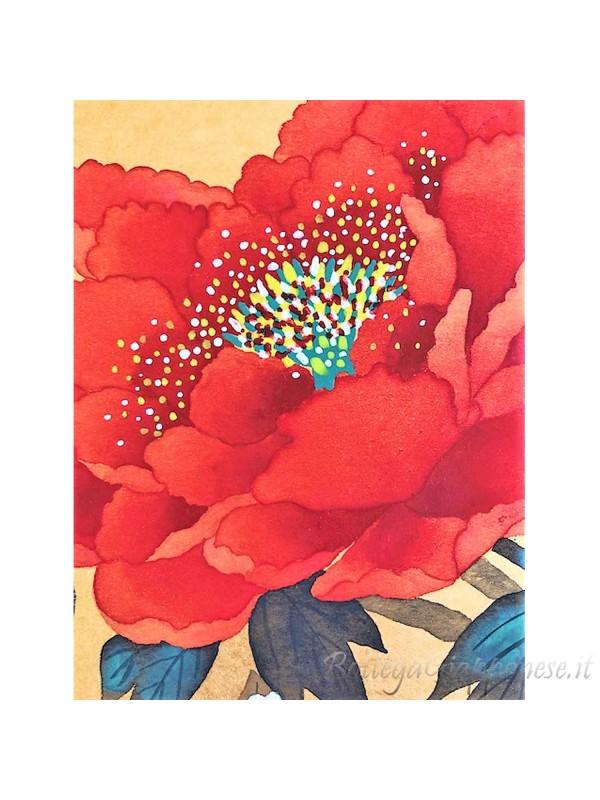Shikishi con peonia dipinto a mano