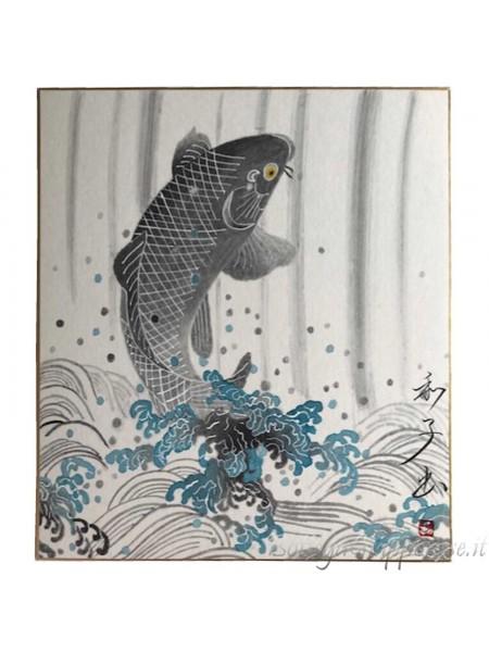 Shikishi con carpa koi dipinto a mano sumie